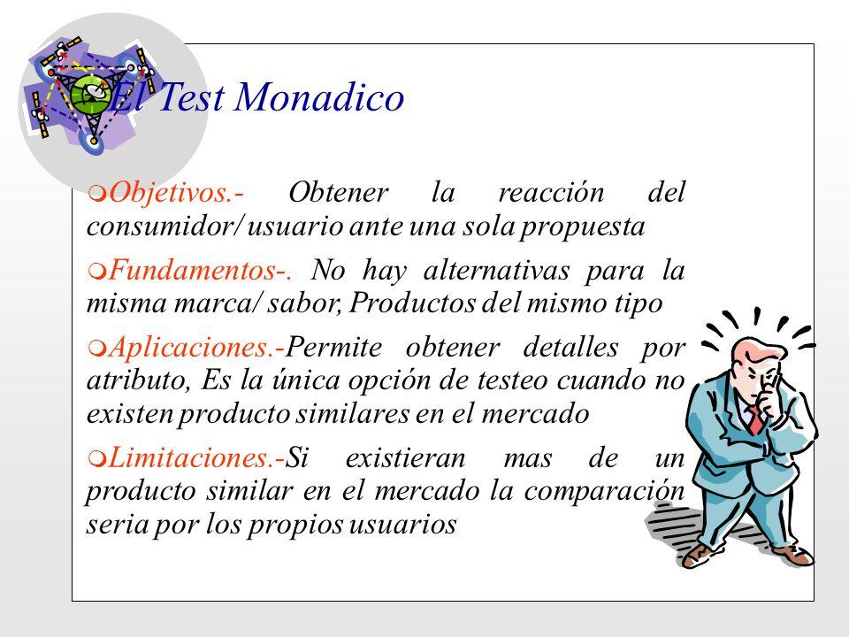 El Test Monadico m Objetivos.- Obtener la reacción del consumidor/ usuario ante una sola propuesta m Fundamentos-. No hay alternativas para la misma m