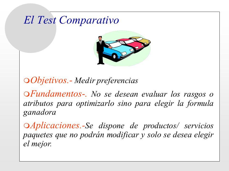El Test Comparativo m Objetivos.- Medir preferencias m Fundamentos-. No se desean evaluar los rasgos o atributos para optimizarlo sino para elegir la
