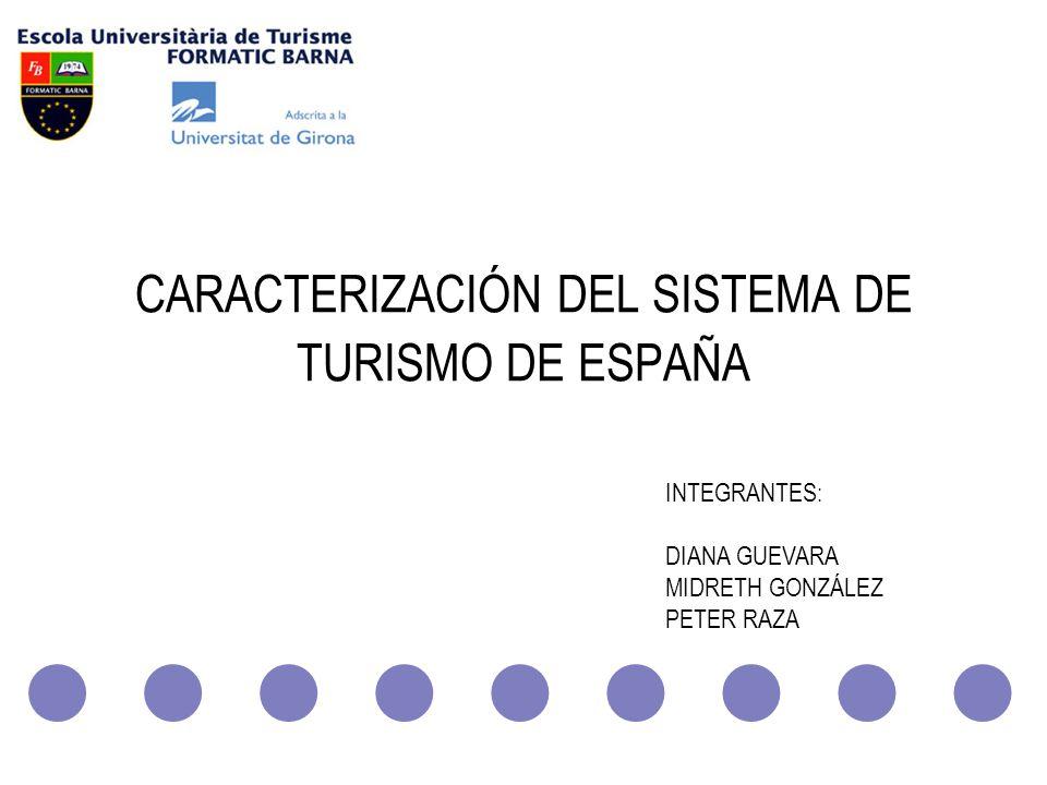 ESCUELA UNIVERSITARIA DE TURISMO FORMATIC BARNA CARACTERIZACIÓN DEL SISTEMA DE TURISMO DE ESPAÑA INTEGRANTES: DIANA GUEVARA MIDRETH GONZÁLEZ PETER RAZ