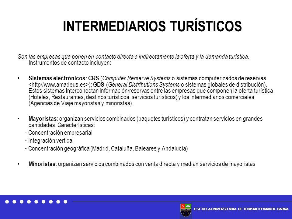 ESCUELA UNIVERSITARIA DE TURISMO FORMATIC BARNA Son las empresas que ponen en contacto directa e indirectamente la oferta y la demanda turística. Inst