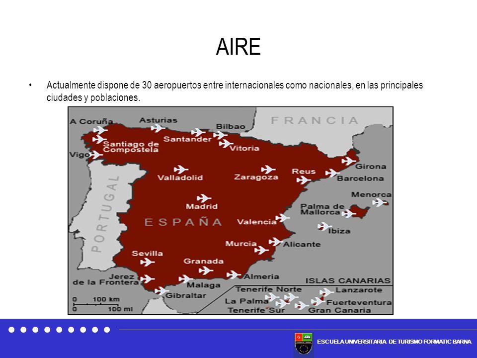 ESCUELA UNIVERSITARIA DE TURISMO FORMATIC BARNA AIRE Actualmente dispone de 30 aeropuertos entre internacionales como nacionales, en las principales c