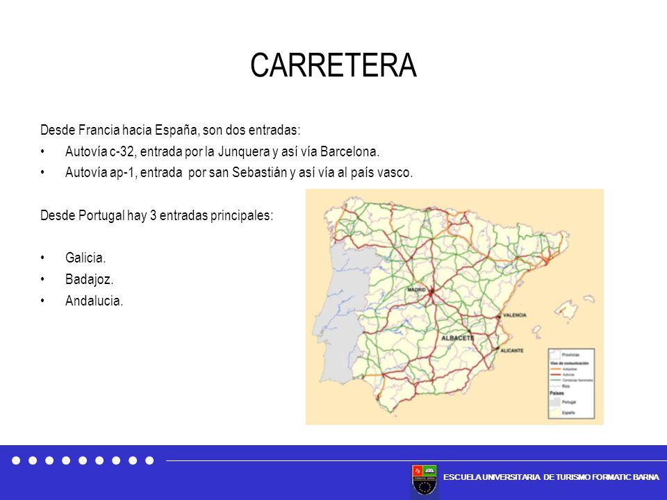 ESCUELA UNIVERSITARIA DE TURISMO FORMATIC BARNA CARRETERA Desde Francia hacia España, son dos entradas: Autovía c-32, entrada por la Junquera y así ví