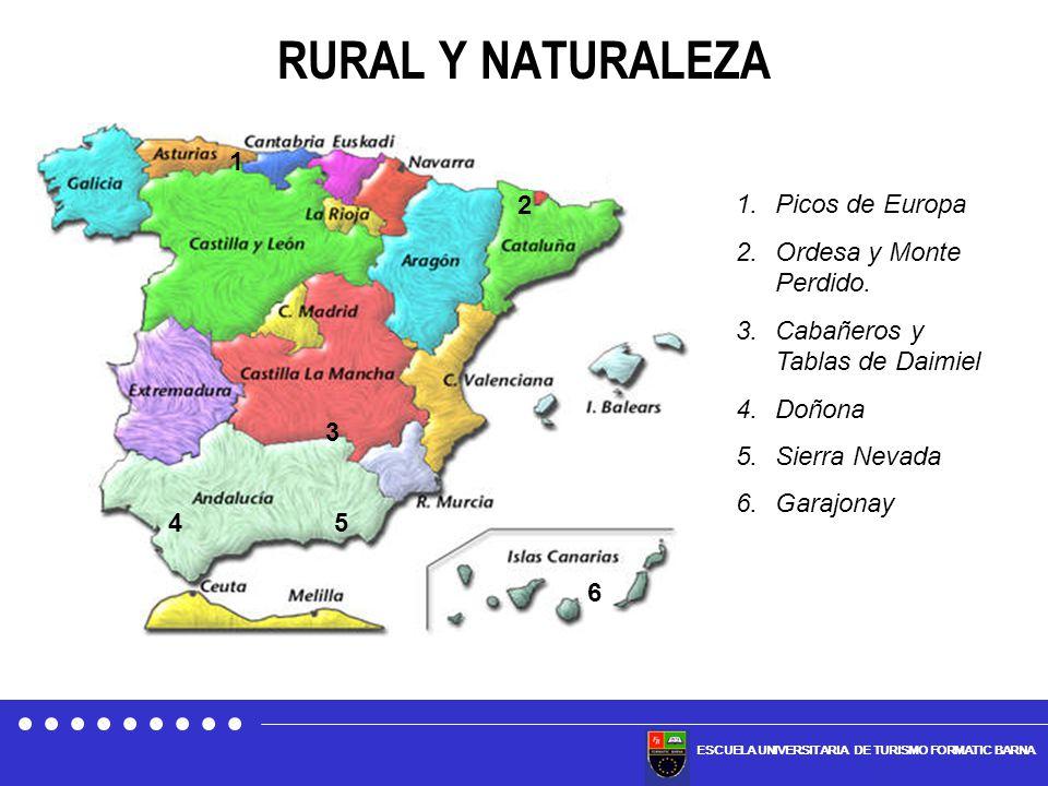 ESCUELA UNIVERSITARIA DE TURISMO FORMATIC BARNA RURAL Y NATURALEZA 1 2 3 45 6 1.Picos de Europa 2.Ordesa y Monte Perdido. 3.Cabañeros y Tablas de Daim