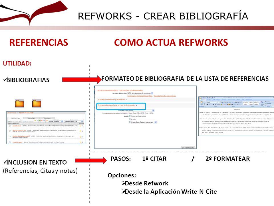 - - - - - - - - - - - - - - - - - - - - - - - - - - - - - - - - - - - - - - - - - - - REFERENCIASCOMO ACTUA REFWORKS UTILIDAD: BIBLIOGRAFIAS INCLUSION EN TEXTO (Referencias, Citas y notas) FORMATEO DE BIBLIOGRAFIA DE LA LISTA DE REFERENCIAS PASOS: 1º CITAR / 2º FORMATEAR Opciones: Desde Refwork Desde la Aplicación Write-N-Cite REFWORKS - CREAR BIBLIOGRAFÍA