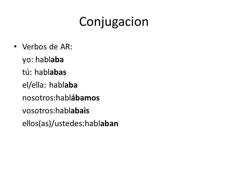 Conjugacion Verbos de AR: yo: hablaba tú: hablabas el/ella: hablaba nosotros:hablábamos vosotros:hablabais ellos(as)/ustedes:hablaban