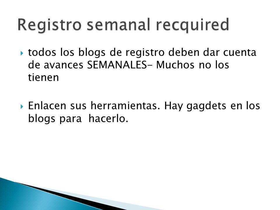 todos los blogs de registro deben dar cuenta de avances SEMANALES- Muchos no los tienen Enlacen sus herramientas.