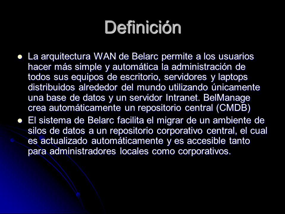 Definición La arquitectura WAN de Belarc permite a los usuarios hacer más simple y automática la administración de todos sus equipos de escritorio, se