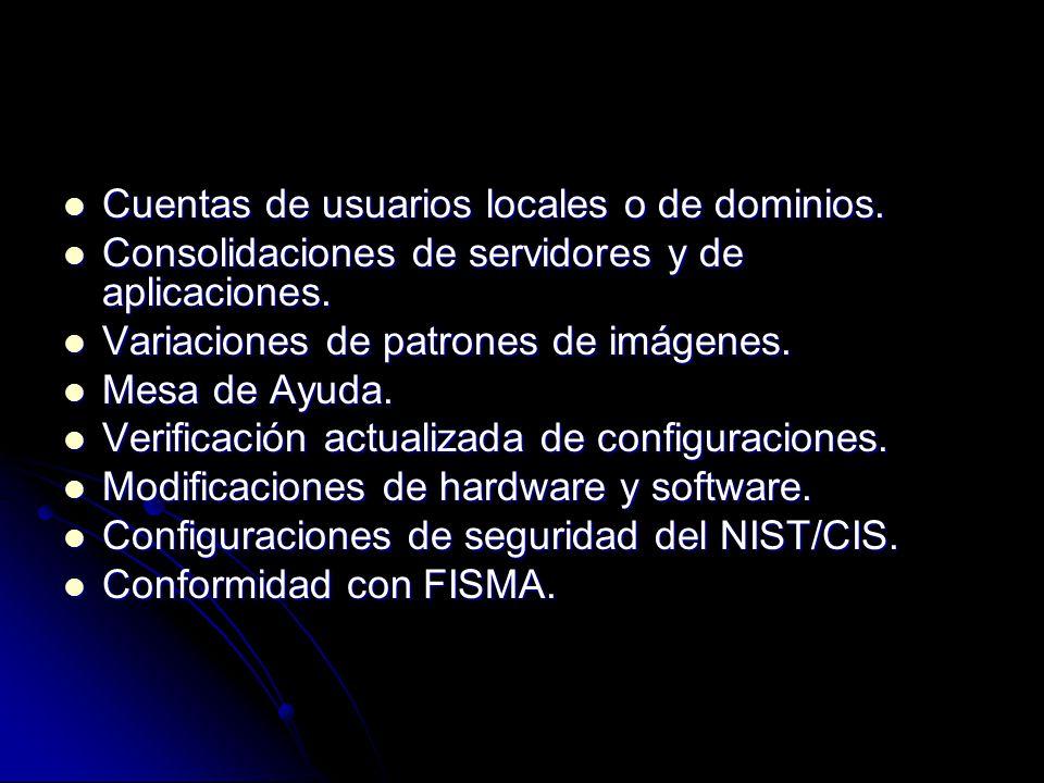 Cuentas de usuarios locales o de dominios. Cuentas de usuarios locales o de dominios. Consolidaciones de servidores y de aplicaciones. Consolidaciones