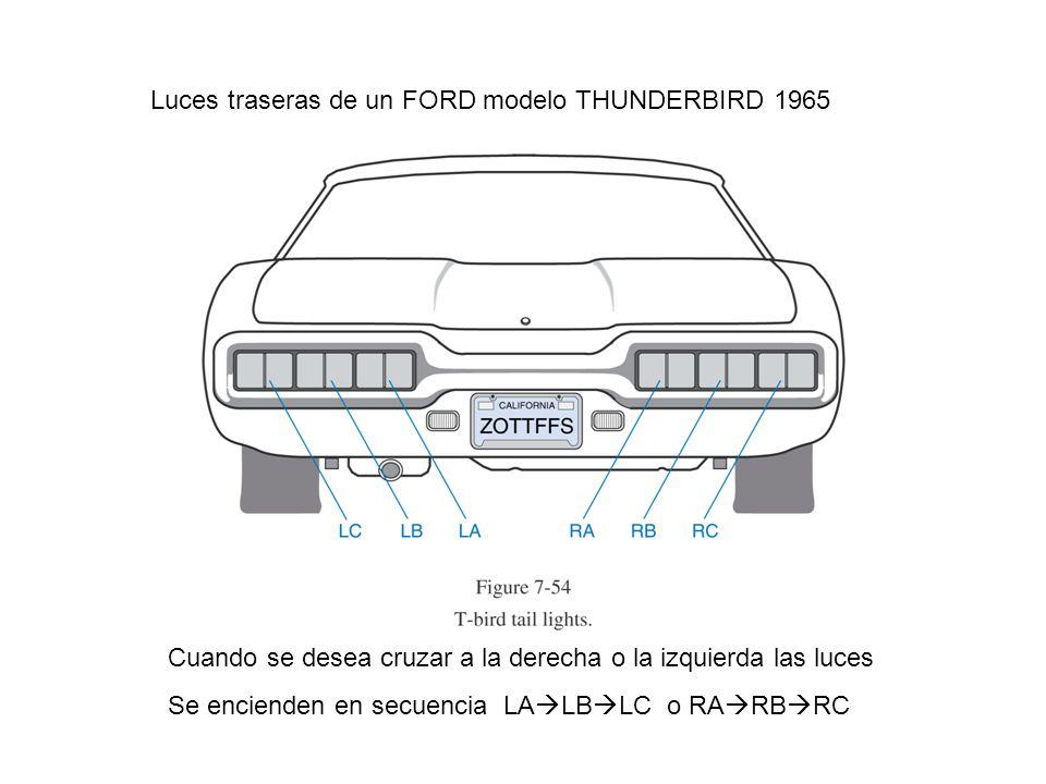 Luces traseras de un FORD modelo THUNDERBIRD 1965 Cuando se desea cruzar a la derecha o la izquierda las luces Se encienden en secuencia LA LB LC o RA