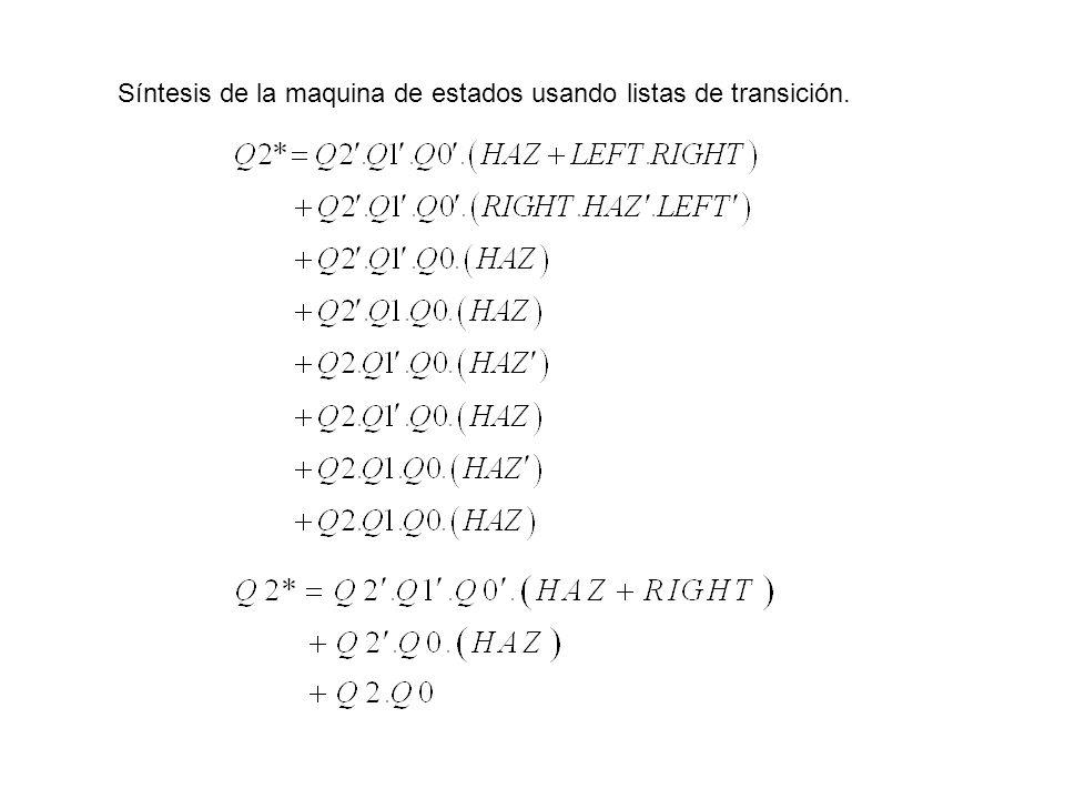 Síntesis de la maquina de estados usando listas de transición.