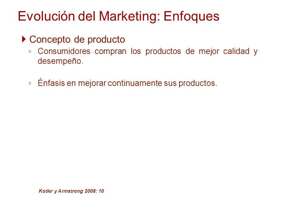 Evolución del Marketing: Enfoques Concepto de producto Consumidores compran los productos de mejor calidad y desempeño. Énfasis en mejorar continuamen