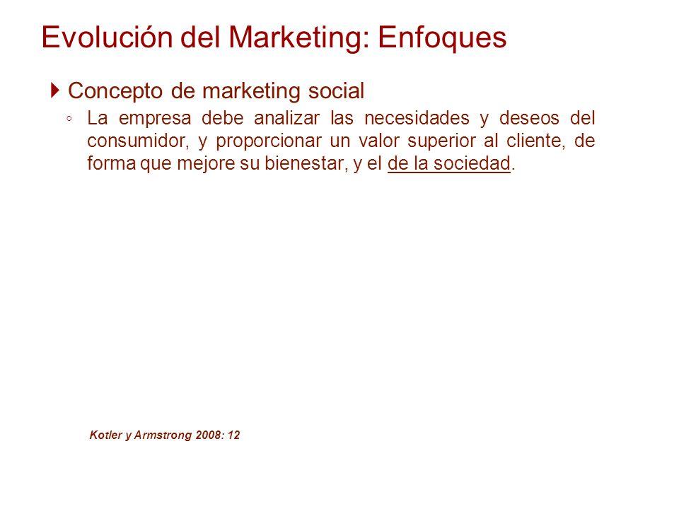 Evolución del Marketing: Enfoques Concepto de marketing social La empresa debe analizar las necesidades y deseos del consumidor, y proporcionar un val