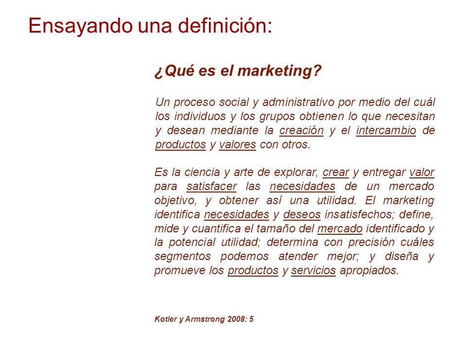Ensayando una definición: ¿Qué es el marketing? Un proceso social y administrativo por medio del cuál los individuos y los grupos obtienen lo que nece