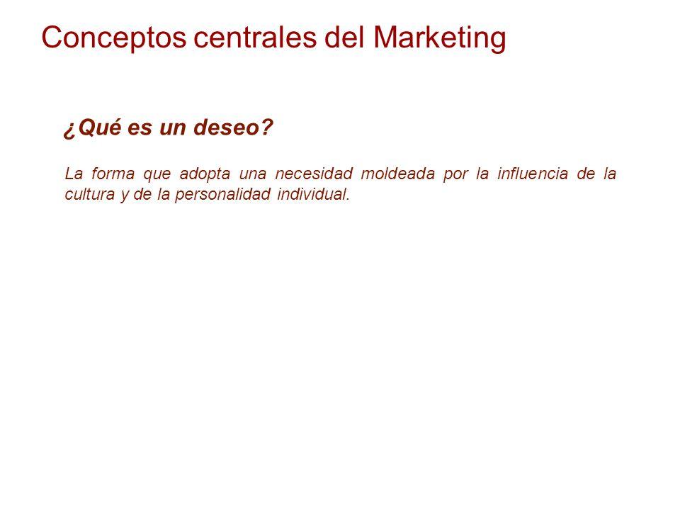 Conceptos centrales del Marketing ¿Qué es un deseo? La forma que adopta una necesidad moldeada por la influencia de la cultura y de la personalidad in
