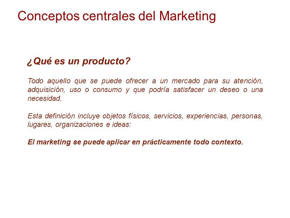 Conceptos centrales del Marketing ¿Qué es un producto? Todo aquello que se puede ofrecer a un mercado para su atención, adquisición, uso o consumo y q
