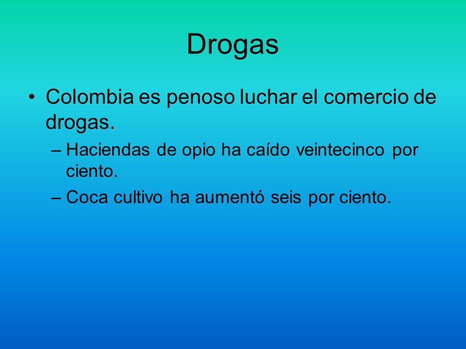 Drogas Colombia es penoso luchar el comercio de drogas. –Haciendas de opio ha caído veintecinco por ciento. –Coca cultivo ha aumentó seis por ciento.