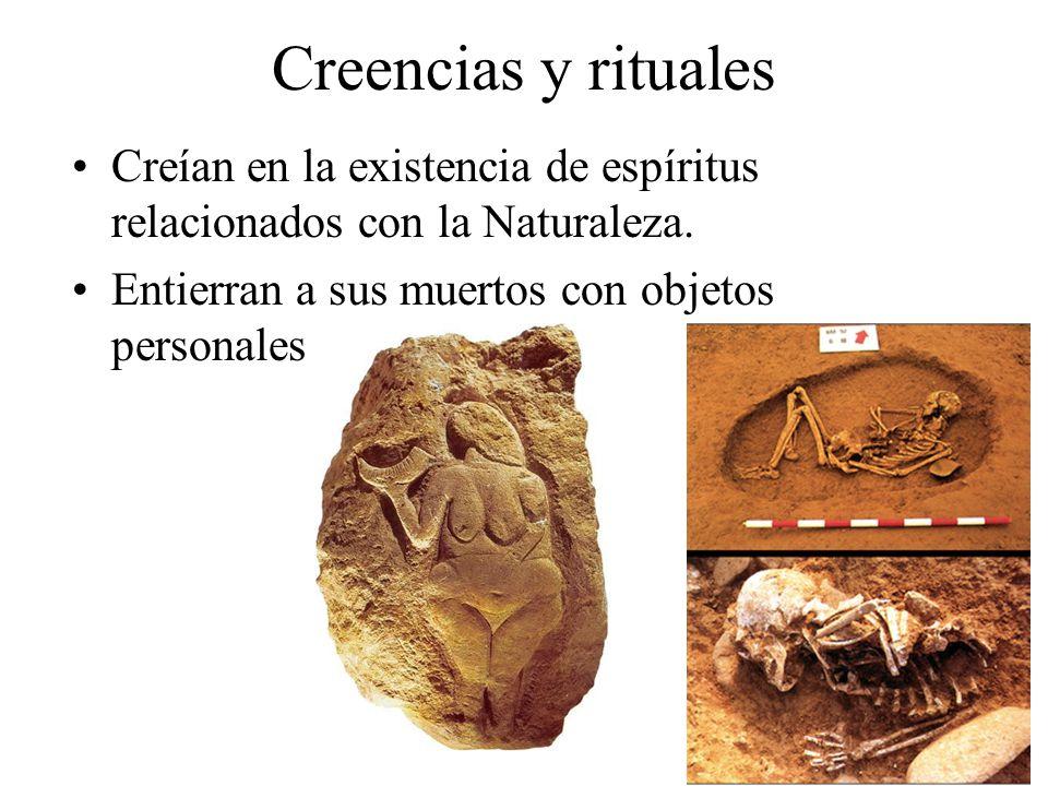 Creencias y rituales Creían en la existencia de espíritus relacionados con la Naturaleza. Entierran a sus muertos con objetos personales y comida.