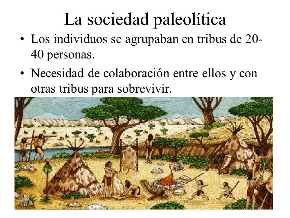La sociedad paleolítica Los individuos se agrupaban en tribus de 20- 40 personas. Necesidad de colaboración entre ellos y con otras tribus para sobrev