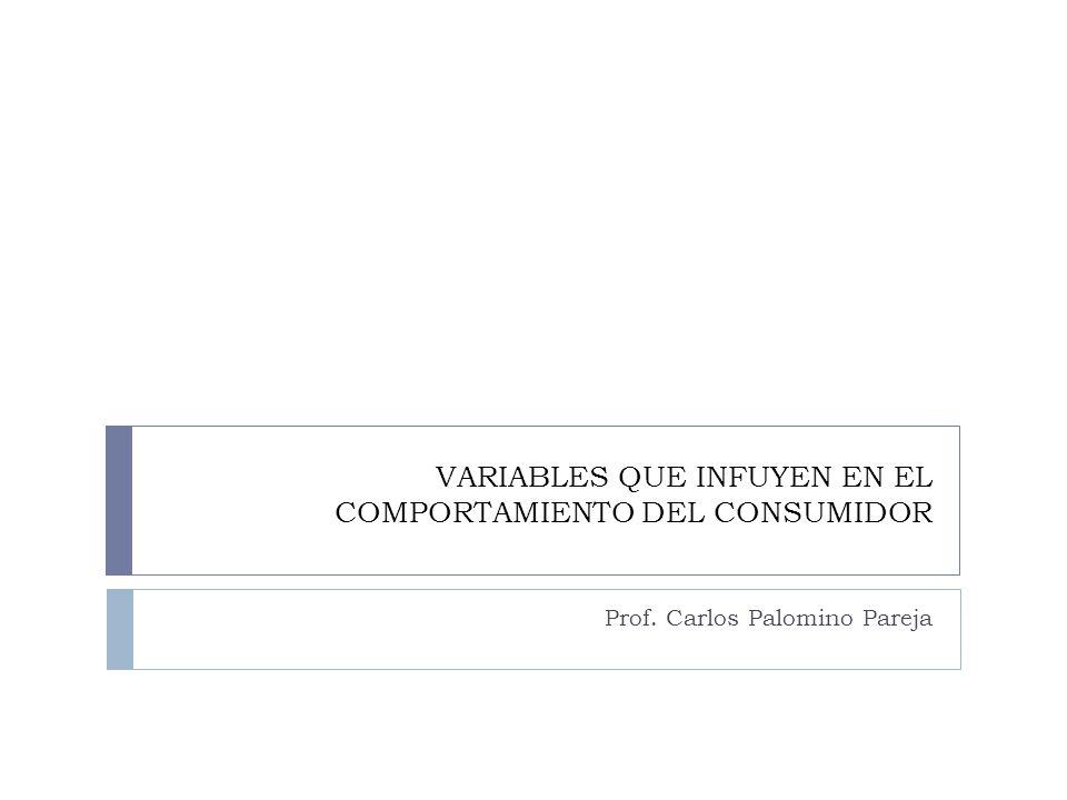 VARIABLES QUE INFUYEN EN EL COMPORTAMIENTO DEL CONSUMIDOR Prof. Carlos Palomino Pareja