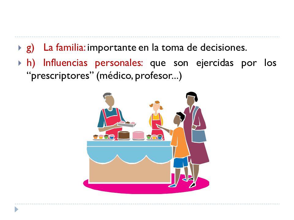 g) La familia: importante en la toma de decisiones. h) Influencias personales: que son ejercidas por los prescriptores (médico, profesor...)