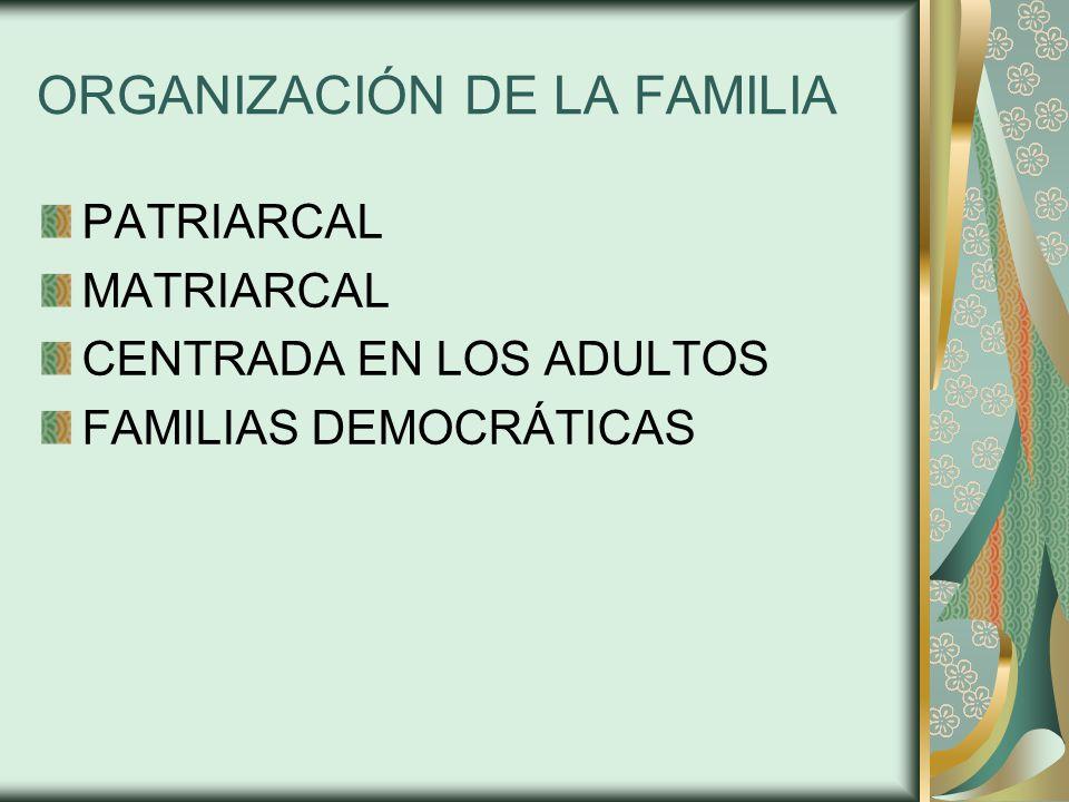 ORGANIZACIÓN DE LA FAMILIA PATRIARCAL MATRIARCAL CENTRADA EN LOS ADULTOS FAMILIAS DEMOCRÁTICAS