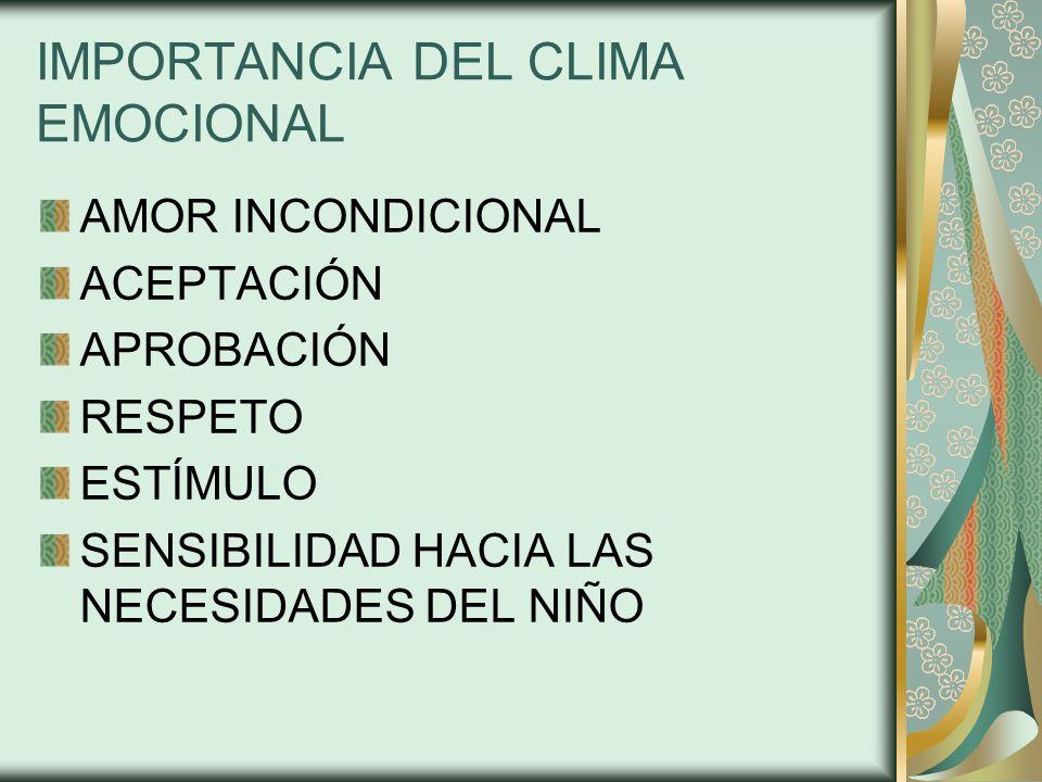 IMPORTANCIA DEL CLIMA EMOCIONAL AMOR INCONDICIONAL ACEPTACIÓN APROBACIÓN RESPETO ESTÍMULO SENSIBILIDAD HACIA LAS NECESIDADES DEL NIÑO