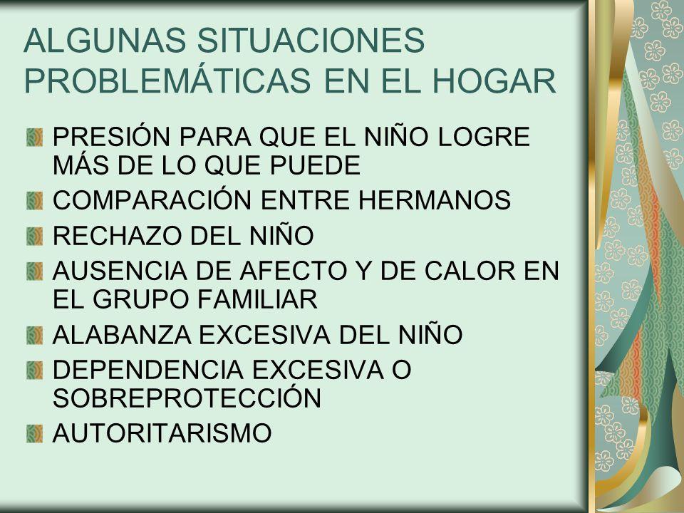 ALGUNAS SITUACIONES PROBLEMÁTICAS EN EL HOGAR PRESIÓN PARA QUE EL NIÑO LOGRE MÁS DE LO QUE PUEDE COMPARACIÓN ENTRE HERMANOS RECHAZO DEL NIÑO AUSENCIA DE AFECTO Y DE CALOR EN EL GRUPO FAMILIAR ALABANZA EXCESIVA DEL NIÑO DEPENDENCIA EXCESIVA O SOBREPROTECCIÓN AUTORITARISMO