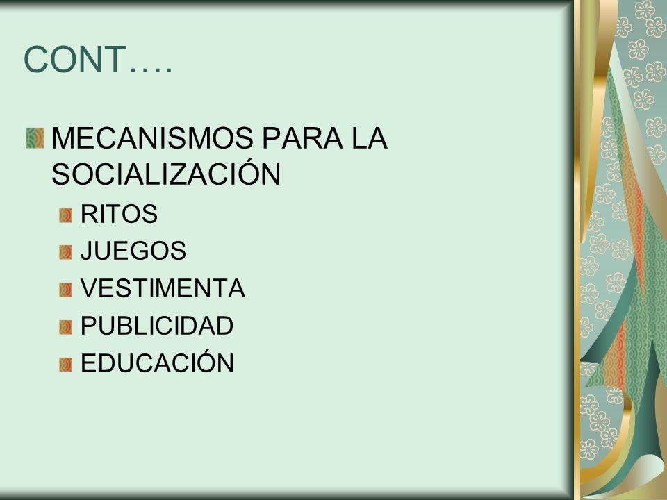 CONT…. MECANISMOS PARA LA SOCIALIZACIÓN RITOS JUEGOS VESTIMENTA PUBLICIDAD EDUCACIÓN