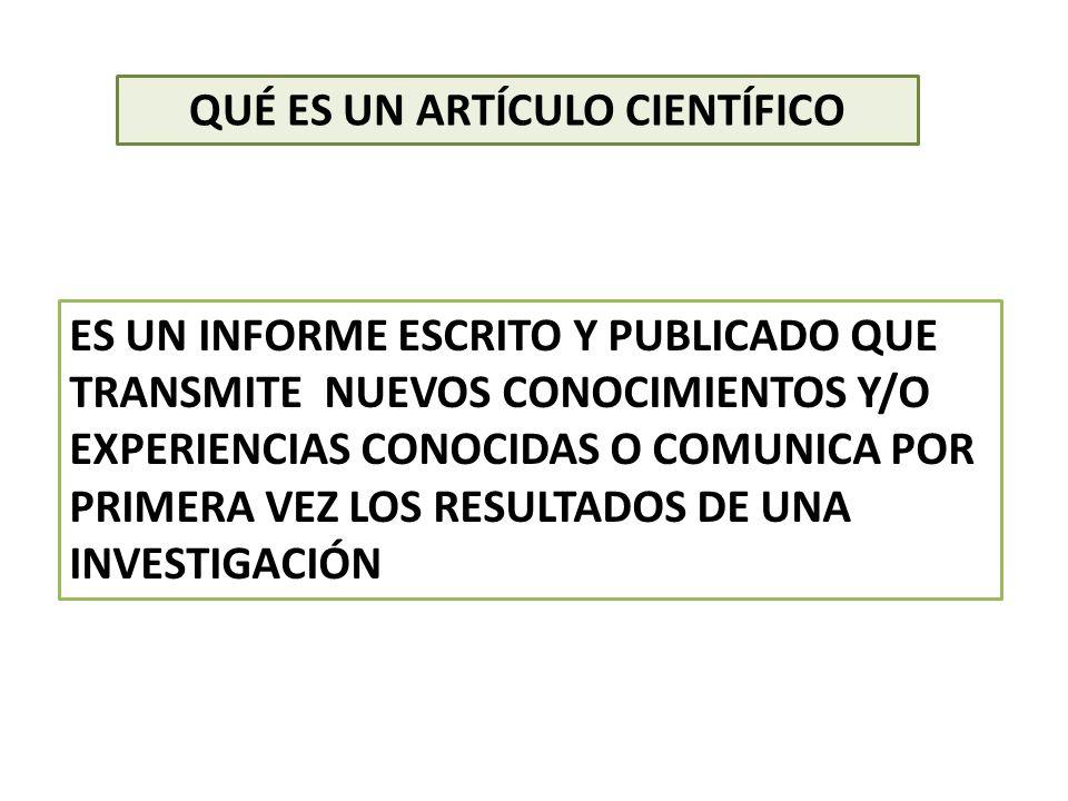 MODALIDADES DE ARTÍCULOS CIENTÍFICOS (UNESCO) MEMORIAS CIENTÍFICAS ORIGINALES.