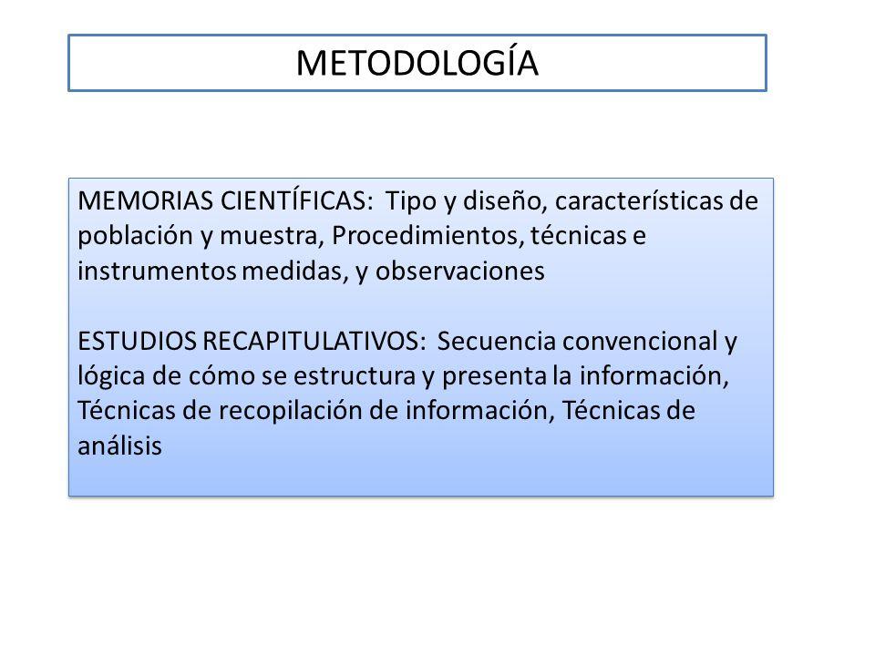 METODOLOGÍA MEMORIAS CIENTÍFICAS: Tipo y diseño, características de población y muestra, Procedimientos, técnicas e instrumentos medidas, y observacio