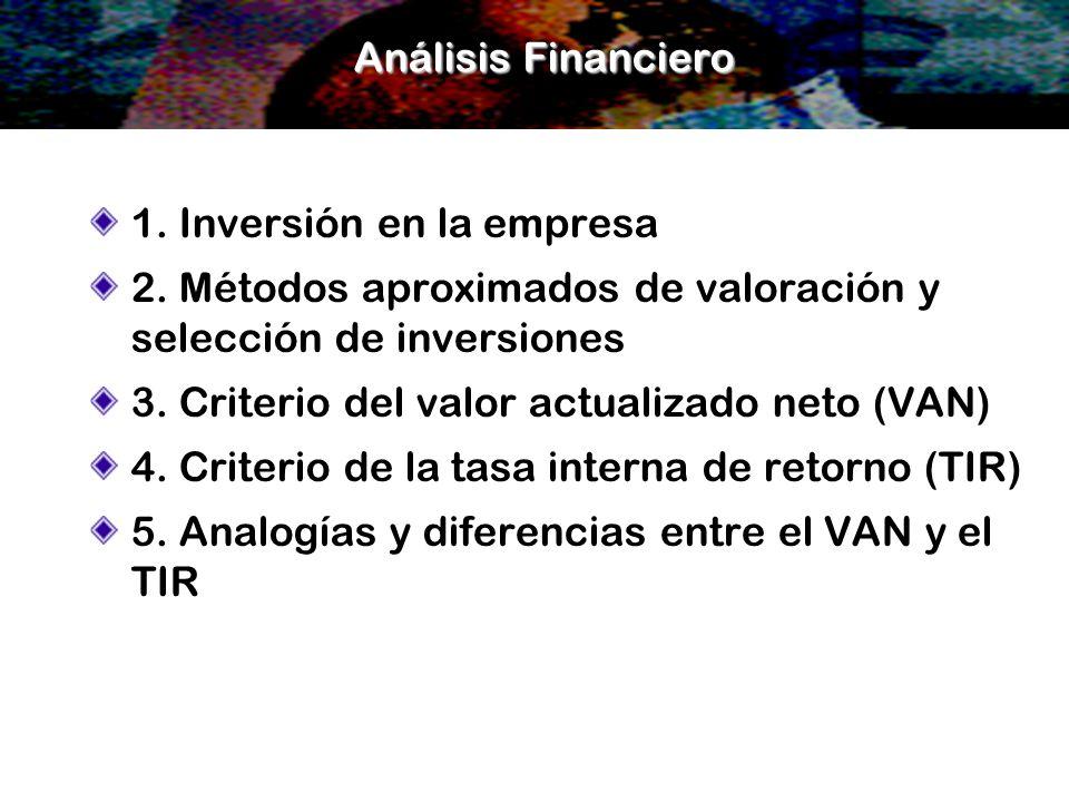 Análisis Financiero 1. Inversión en la empresa 2. Métodos aproximados de valoración y selección de inversiones 3. Criterio del valor actualizado neto