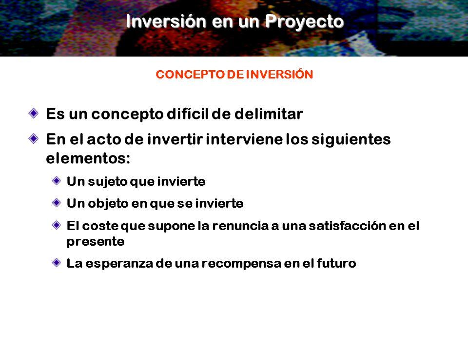 Inversión en un Proyecto Es un concepto difícil de delimitar En el acto de invertir interviene los siguientes elementos: Un sujeto que invierte Un obj