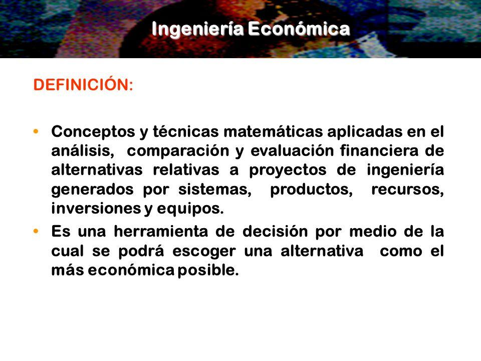 Ingeniería Económica DEFINICIÓN: Conceptos y técnicas matemáticas aplicadas en el análisis, comparación y evaluación financiera de alternativas relati