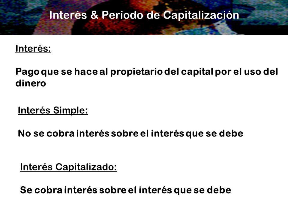 Interés & Período de Capitalización Interés: Pago que se hace al propietario del capital por el uso del dinero Interés Simple: No se cobra interés sob