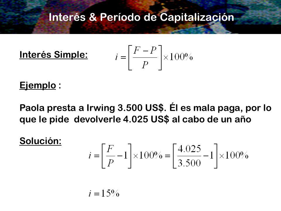 Interés & Período de Capitalización Interés Simple: Ejemplo : Paola presta a Irwing 3.500 US$. Él es mala paga, por lo que le pide devolverle 4.025 US