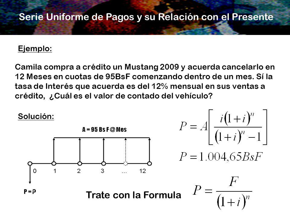 Serie Uniforme de Pagos y su Relación con el Presente Ejemplo: Camila compra a crédito un Mustang 2009 y acuerda cancelarlo en 12 Meses en cuotas de 9