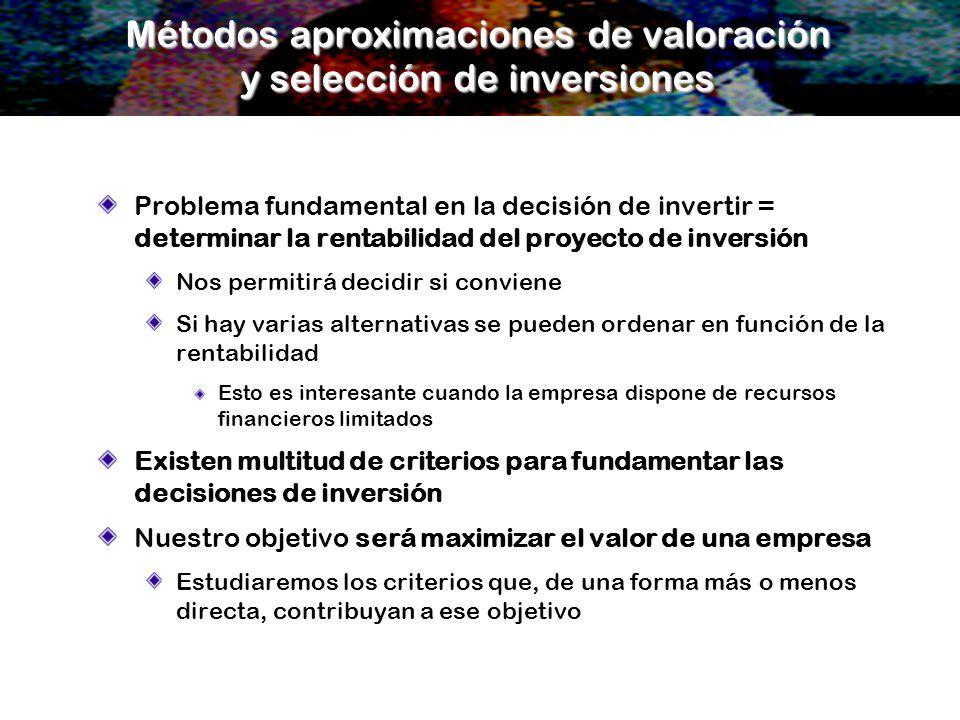 Métodos aproximaciones de valoración y selección de inversiones Problema fundamental en la decisión de invertir = determinar la rentabilidad del proye