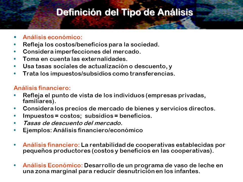 Definición del Tipo de Análisis Análisis económico: Refleja los costos/beneficios para la sociedad. Considera imperfecciones del mercado. Toma en cuen