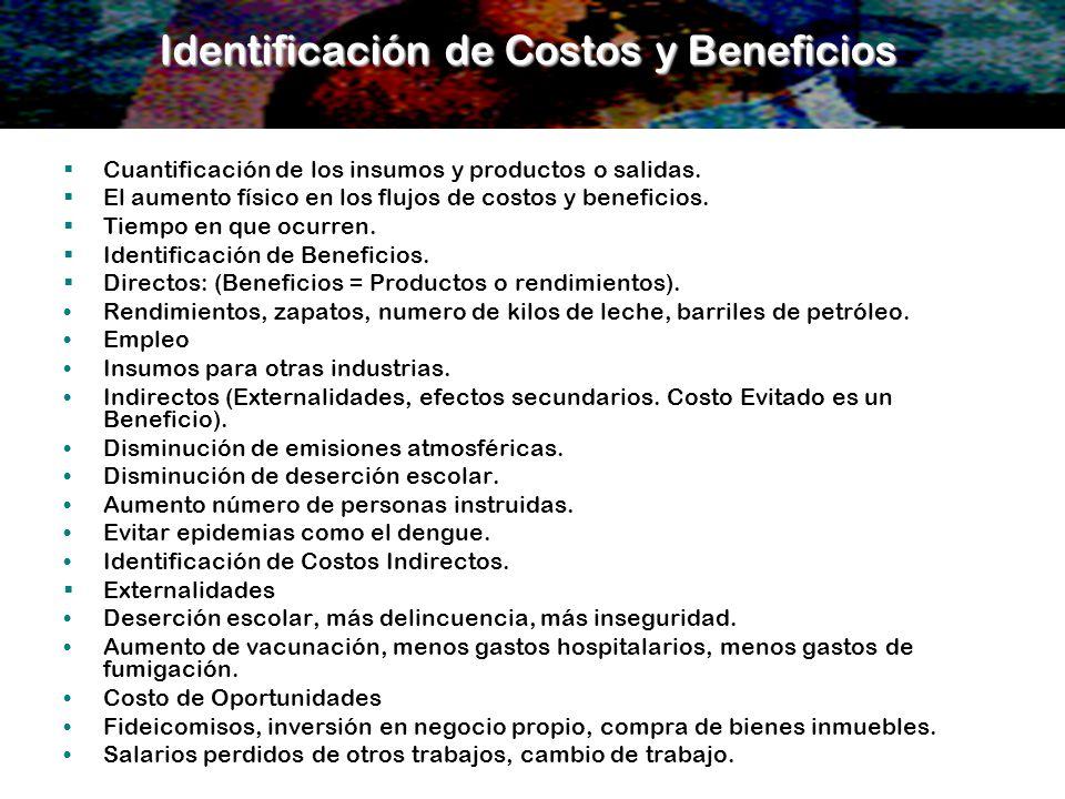 Identificación de Costos y Beneficios Cuantificación de los insumos y productos o salidas. El aumento físico en los flujos de costos y beneficios. Tie