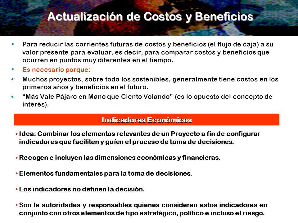 Actualización de Costos y Beneficios Para reducir las corrientes futuras de costos y beneficios (el flujo de caja) a su valor presente para evaluar, e
