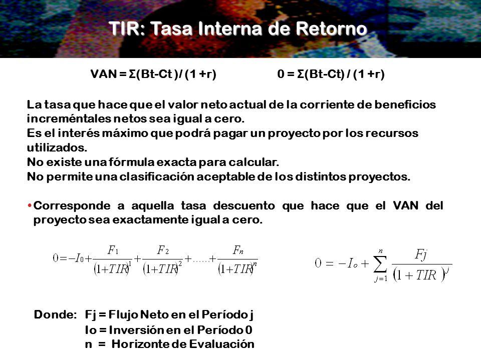 TIR: Tasa Interna de Retorno Corresponde a aquella tasa descuento que hace que el VAN del proyecto sea exactamente igual a cero. Donde: Fj = Flujo Net