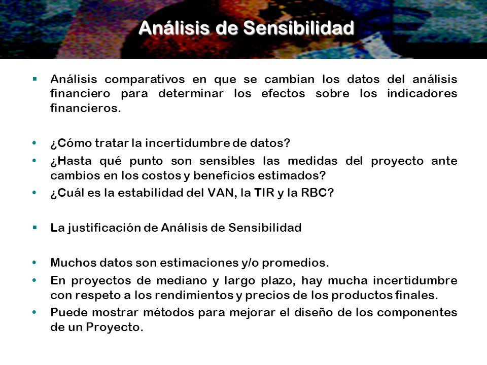 Análisis de Sensibilidad Análisis comparativos en que se cambian los datos del análisis financiero para determinar los efectos sobre los indicadores f