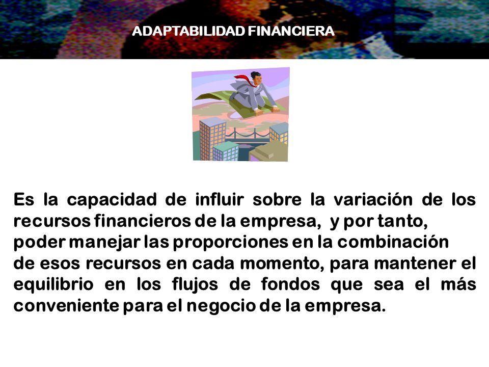 Es la capacidad de influir sobre la variación de los recursos financieros de la empresa, y por tanto, poder manejar las proporciones en la combinación