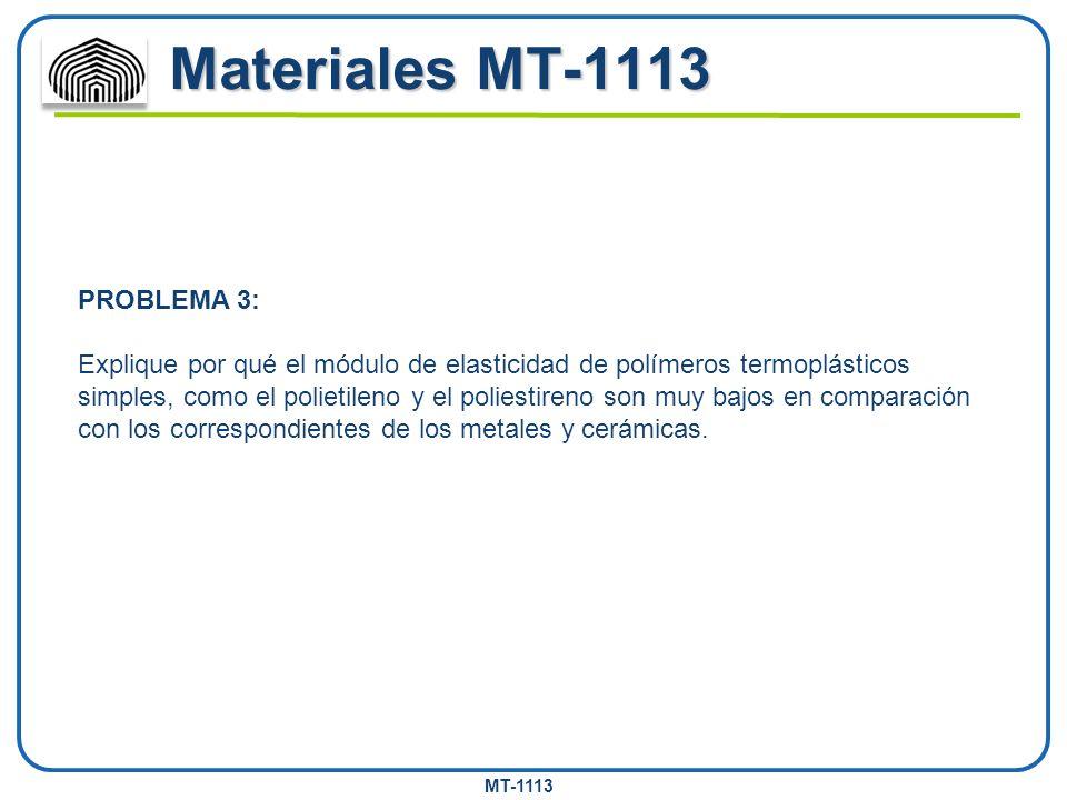 MT-1113 Materiales MT-1113 PROBLEMA 3: Explique por qué el módulo de elasticidad de polímeros termoplásticos simples, como el polietileno y el poliest