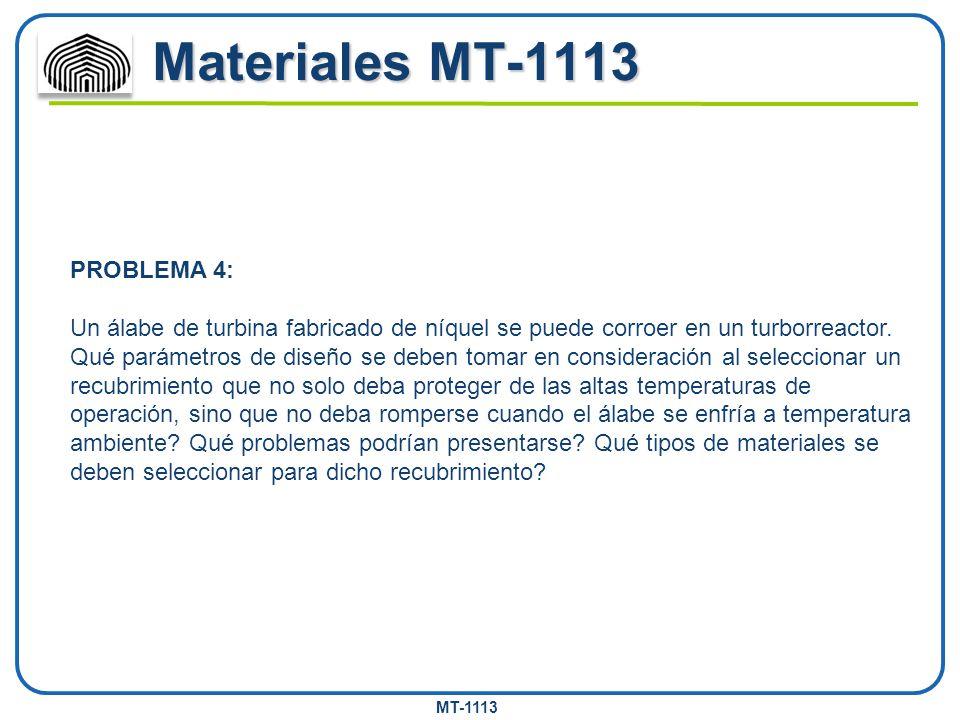 MT-1113 Materiales MT-1113 PROBLEMA 4: Un álabe de turbina fabricado de níquel se puede corroer en un turborreactor. Qué parámetros de diseño se deben