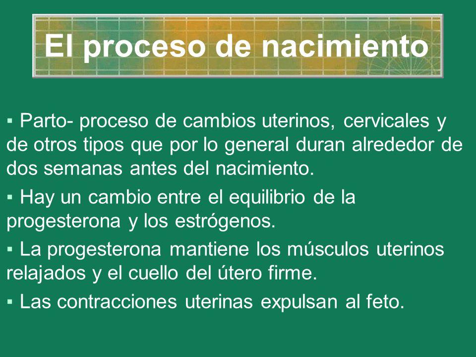 El proceso de nacimiento Parto- proceso de cambios uterinos, cervicales y de otros tipos que por lo general duran alrededor de dos semanas antes del n