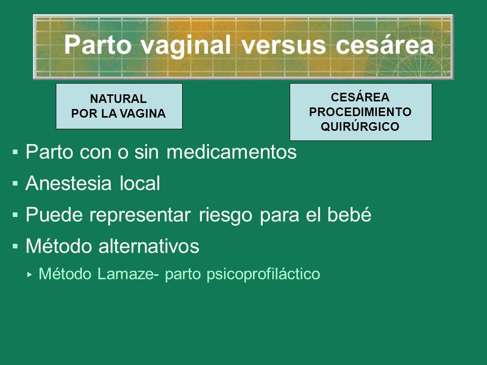 Parto vaginal versus cesárea Parto con o sin medicamentos Anestesia local Puede representar riesgo para el bebé Método alternativos Método Lamaze- par