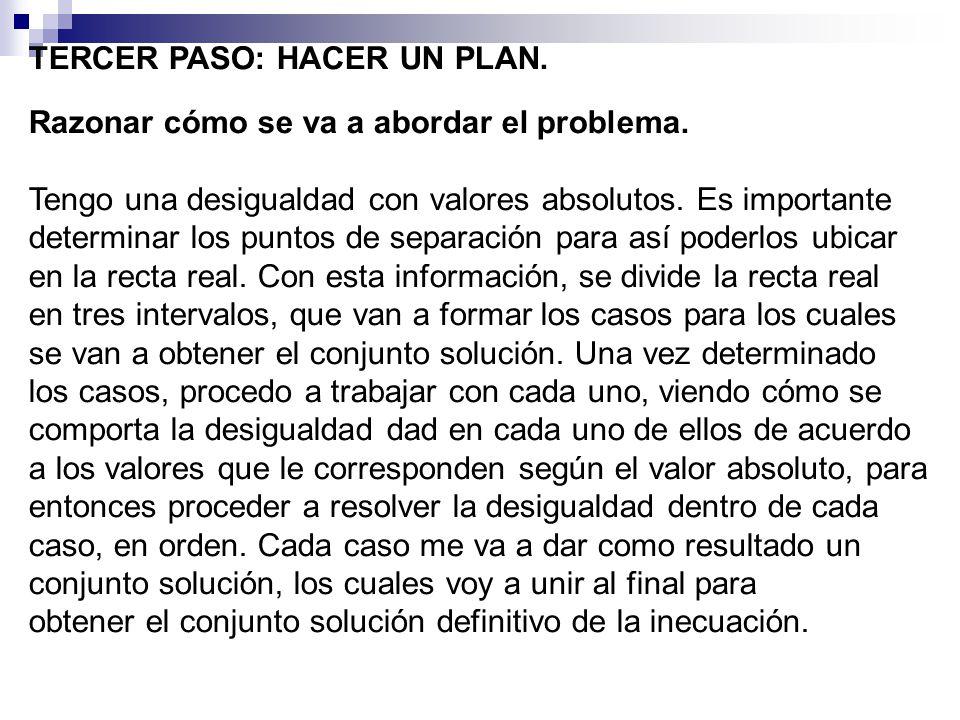 TERCER PASO: HACER UN PLAN.Razonar cómo se va a abordar el problema.