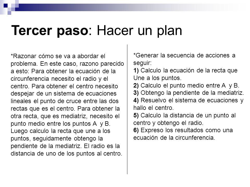 Tercer paso: Hacer un plan *Razonar cómo se va a abordar el problema. En este caso, razono parecido a esto: Para obtener la ecuación de la circunferen