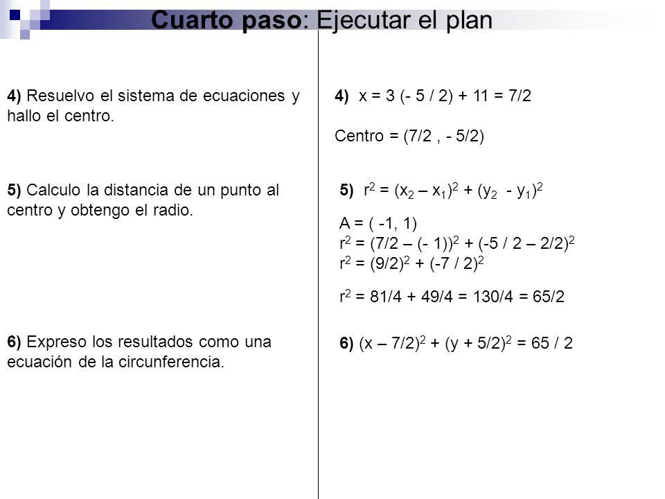 5) Calculo la distancia de un punto al centro y obtengo el radio. Cuarto paso: Ejecutar el plan 4) x = 3 (- 5 / 2) + 11 = 7/2 Centro = (7/2, - 5/2) 5)